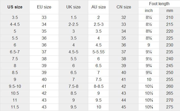 China Shoe Size Comparison Chart
